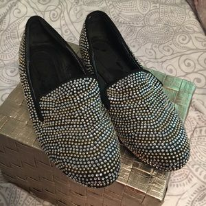 Shoes - Rhinestone Loafer Flat- Gold and Silver